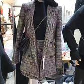套裝兩件式 韓版 千鳥格格子西裝外套 毛呢外套 長袖裙裝 花漾小姐【預購】
