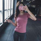 秋冬健身房新款跑步速干T恤運動上衣女短袖顯瘦瑜伽服性感緊身衣