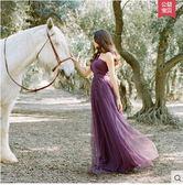 伴娘服長款姐妹裙春季2018新款晚禮服韓版晚裝禮服伴娘團伴娘裙(深紫色)