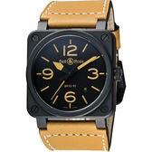 Bell & Ross Aviation 軍事飛行陶瓷機械腕錶-黑x卡其/42mm BR0392-HERI-CE/SWA