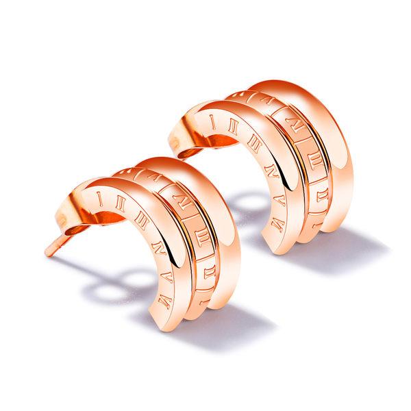 EDJ銀飾店-羅馬數字鈦鋼耳釘(8337)