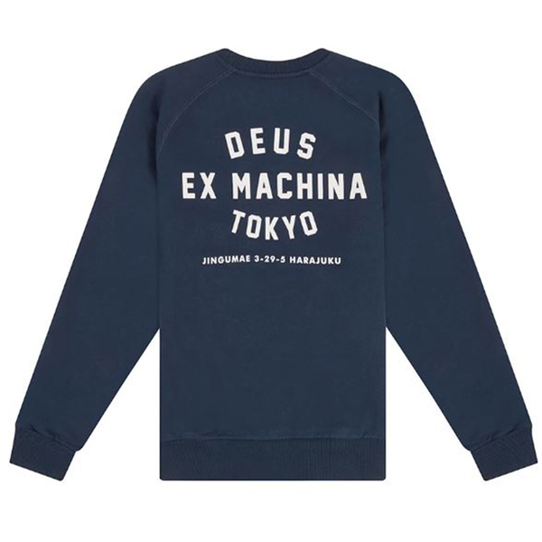 Deus Ex Machina  Tokyo Address Crew  圓領休閒衫  -(藍)