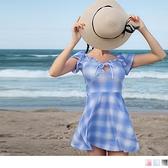 格紋胸口水滴綁帶荷葉領洋裝式泳衣 OB嚴選《VC0151》