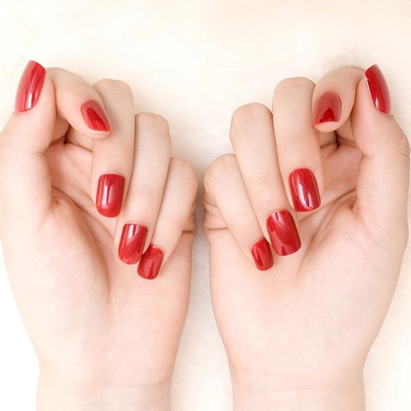 限定款光療感指甲油美甲純色指甲貼片 假指甲貼片成品深紅色甲油膠般質感配外套皮衣風衣
