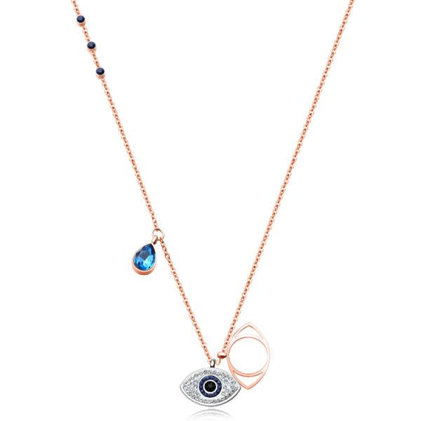 《 QBOX 》FASHION 飾品【C100N1391】精緻秀氣惡魔之眼水晶鑲鑽玫瑰金鈦鋼墬子項鍊