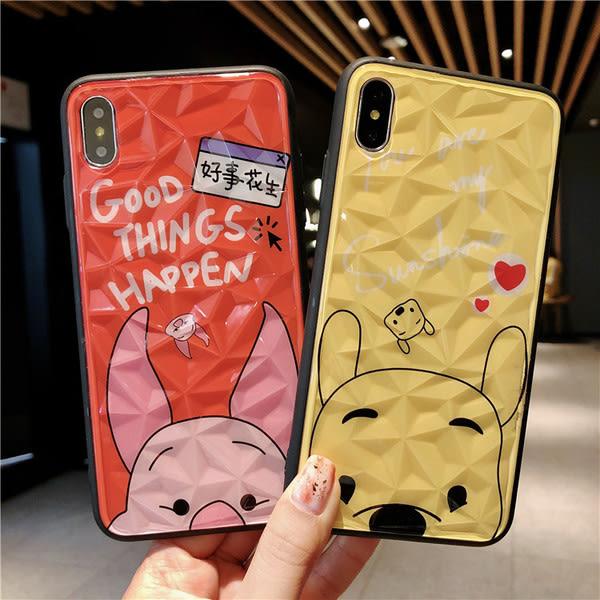 【SZ15】維尼熊 鑽石紋 iphone XS MAX手機殼 iphone XR XS手機殼 iphone 8plus手機殼 iphone 6s plus手機殼