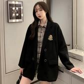 秋冬新款韓版法式復古毛呢外套女小個子中長款寬鬆港風西裝大衣潮 雅楓居
