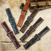 錶帶 邁刻時小牛皮錶帶男20 22 24mm復古錶鏈代用沛納海美度真皮手錶帶 全館免運
