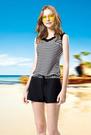 【M7469】梅林泳裝降價↘特賣~大女黑白橫條荷葉綴領連身褲二件式泳衣  贈泳帽