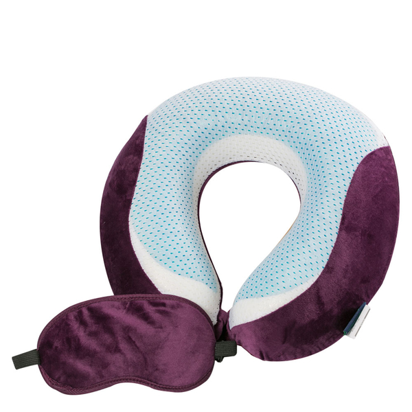 【CUSHY】涼感U型記憶枕+眼罩『紫紅』1717031 水冷凝膠.涼感頸枕.乳膠枕.午安枕.充氣枕.頭靠枕