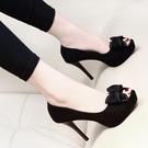 魚口鞋 10cm高跟鞋女2021新款韓版百搭少女蝴蝶結淺口細跟防水臺魚嘴單鞋