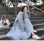 針織網紗裙兩件套百搭氣質灰色寬鬆顯瘦馬海毛毛衣 仙女風氣質高腰網紗半身裙NB15-B2-8552
