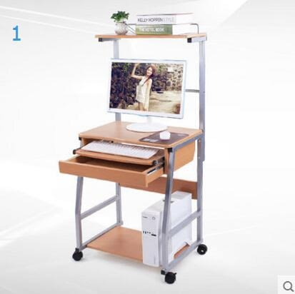 可移動電腦桌台式家用多功能書桌簡約現代創意帶書架桌子