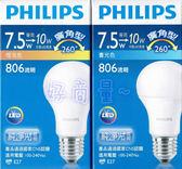 好商量~ PHILIPS 飛利浦 7.5W LED 燈泡 廣角型