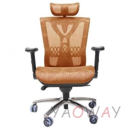 【耀偉】PG206-橘「鋁合金椅腳」(人體工學椅/辦公椅/電腦椅/全網椅)