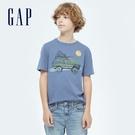 Gap男童 純棉童趣印花短袖T恤 733839-灰藍色