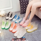 雨鞋果凍成人透明雨靴膠鞋防水鞋防滑韓國學生女短筒「鹿角巷」