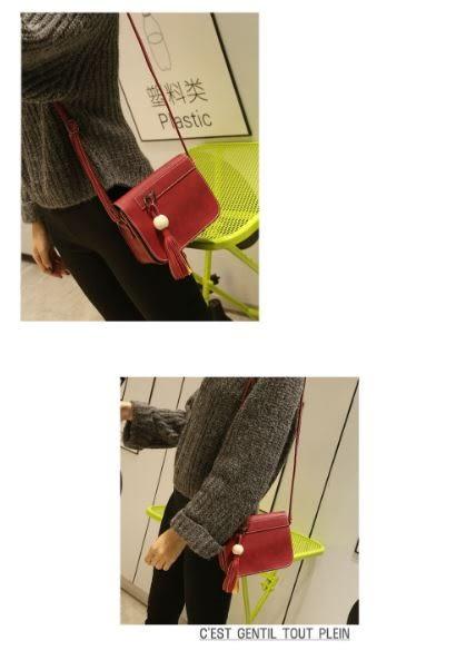 【現貨】2017新款韓版女包木珠流蘇定型小方包單肩斜挎包 (E078)