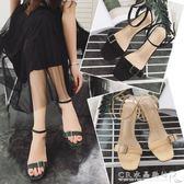 韓版露趾一字扣帶涼鞋中跟粗跟高跟鞋羅馬涼鞋女夏季新款女鞋『CR水晶鞋坊』