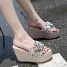 厚底拖鞋 Women Sandals新款坡跟女鞋 時尚厚底鬆糕麻繩花朵蝴蝶一字涼拖鞋