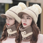 女冬天加厚韓版鴨舌毛線帽圍巾一體護耳棉針織帽 萬客居