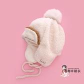 兒童雷鋒帽 兒童帽子雷鋒帽秋冬季韓版保暖羊羔絨洋氣女童男童毛球帽