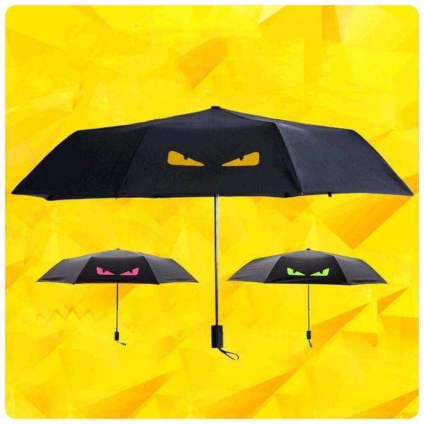 【小惡魔黑膠傘】0透光防曬黑膠塗層三折傘 抗UV遮陽傘 摺疊傘 晴雨傘  折疊傘 防風傘