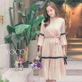 東京著衣【YOCO】法式唯美荷葉立領撞色綁帶洋裝-S.M.L(180202)