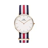 【Daniel Wellington】CLASSIC瑞典時尚品牌經典簡約尼龍腕錶-藍白紅x玫金-36mm/DW00100030/原廠兩年保固