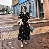 大碼法式優雅大波點夏日v領復古氣質顯瘦a字長裙胖mm洋裝女 艾莎