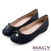 MAGY 清新甜美女孩 金蔥亮布蝴蝶結平底娃娃鞋-藍色