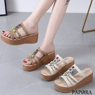 PAPORA輕量寶石華麗楔型拖鞋涼鞋KK7145米色/卡其