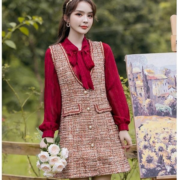 兩件套紅色毛呢背心短洋裝(紅上衣+毛呢背心裙)[99267-QF]美之札