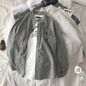 條紋長袖襯衫男春秋青年外套休閑帥氣襯衣【韓衣舍】