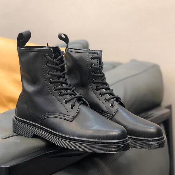 馬丁靴男款 ins馬丁靴男士冬季加絨英倫風高幫工裝靴潮流百搭黑色真皮機車靴