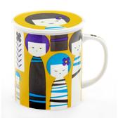 【Royal Duke】日本製趣味馬克杯-美代子黃色(300ml附杯蓋