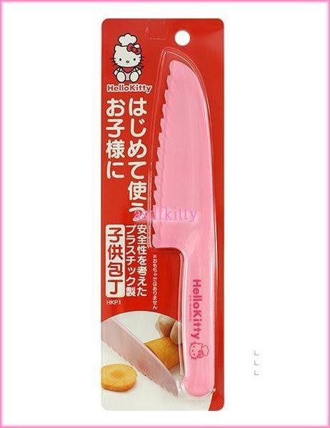 asdfkitty可愛家☆KITTY粉紅色波浪安全菜刀-水果刀-兒童用-日本製