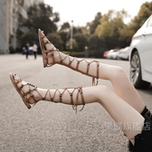 涼鞋 女年新款夏季涼靴百搭仙女風綁帶沙灘時裝長款平底羅馬鞋【全館88折起】