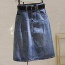 藍色牛仔中長裙女寬松2021夏季新款韓版顯瘦高腰開叉a字半身裙 依凡卡時尚