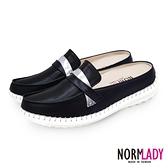 真皮穆勒鞋 拖鞋 俐落知性風格全真皮磁石內增高氣墊球囊穆勒鞋-MIT手工鞋(深墜黑) Normlady 諾蕾蒂