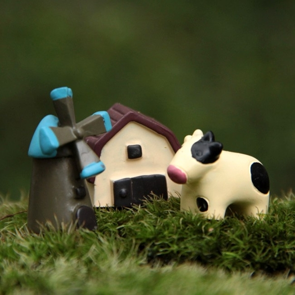 CARMO小牛+風車+小房組微景觀(3入)【A018019】