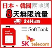 (期限2020/12/30) 日本網卡韓國網卡8天兩國通用日韓網卡流量無限吃到飽