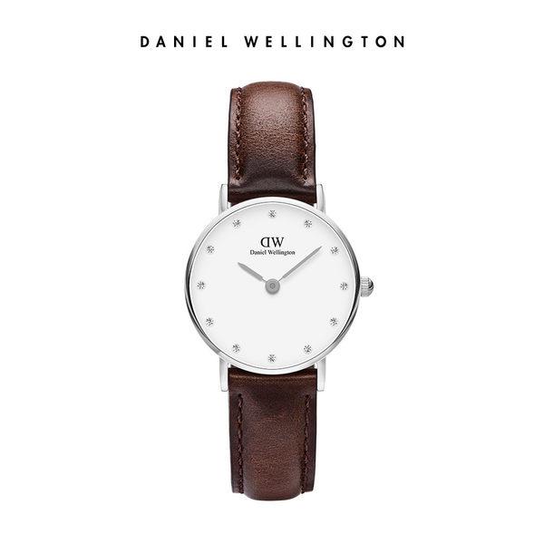 Daniel Wellington DW 手錶 26mm銀框 Classy 深棕真皮鑽石錶