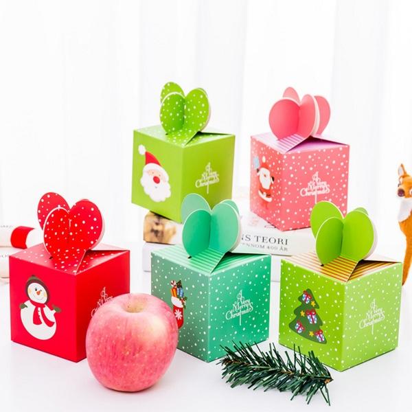 【BlueCat】聖誕節雪花系四花瓣正方形包裝盒 禮物盒 紙盒 糖果盒
