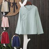 棉麻襯衫盤扣文藝范中國風上衣寬鬆T恤復古漢服女裝 美芭