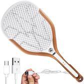 電蚊拍鋰電池USB充電LED燈超強滅蚊拍安全三網蒼蠅拍滅蚊器 瑪麗蓮安YXS