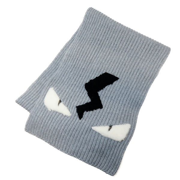 FENDI 芬迪 灰色羊毛小怪獸圖案針織圍巾 【BRAND OFF】