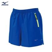 MIZUNO 女裝 短褲 慢跑 訓練 休閒 微彈性 褲口反光 左側拉鍊 亮藍【運動世界】J2TB8A2125