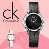 CK手錶專賣店 K2U231C1 女錶 石英 黑面 礦石強化玻璃鏡面 不鏽鋼錶殼 皮錶帶