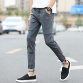 男士九分牛仔褲男青少年學生韓版潮流彈力修身小腳褲子男破洞春季